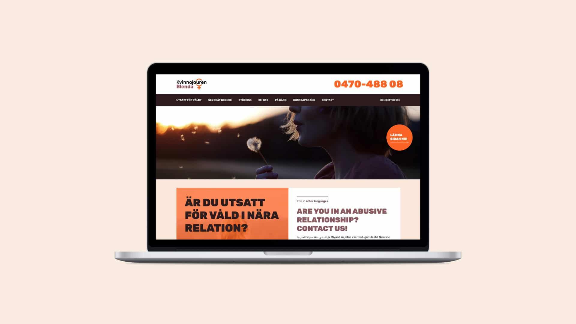 Webbplats för Kvinnojouren Blenda